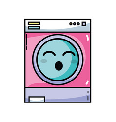 Kawaii cute funny washing machine vector
