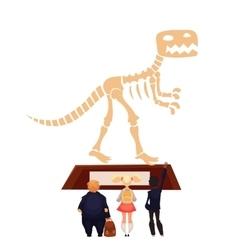 Kids in museum looking at dinosaur skeleton vector image
