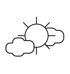 Line sun with clouds to natural weather vector