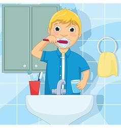 Little Boy Brushing Teeth vector image