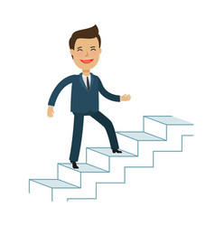 man is climbing career ladder business concept vector image