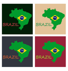 map of brasil icon flat of icon for web on yellow vector image