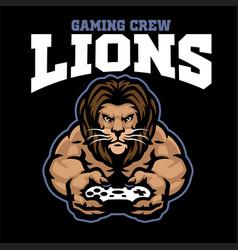 Mascot gaming logo lion holding joystick vector