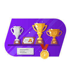 Medal cup reward and letter standing on shelves vector