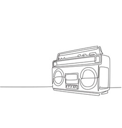 one continuous line drawing retro old vector image