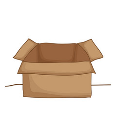 open brown paper box isolated on white background vector image