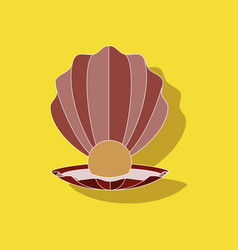 Paper sticker on background of pearl mussel vector