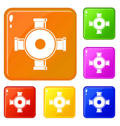 Pipe fitting icons set color vector