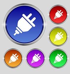 Plug icon sign Round symbol on bright colourful vector