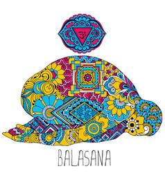 Pose in yoga of balasana vector