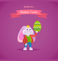 rabbit in clothes holding an easter egg vector image
