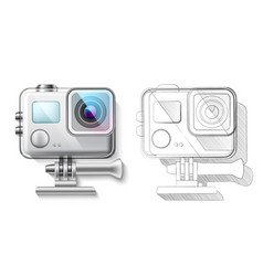 Realistic action camera in box 3d render vector
