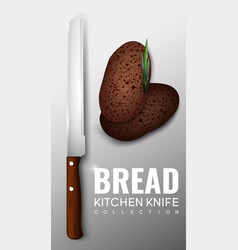 Realistic kitchen knife concept vector