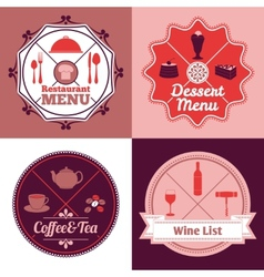 Restaurant menu emblem set color vector