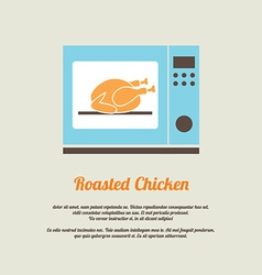 Roasted chicken in oven vector