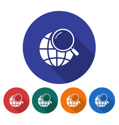 round icon of global search flat style with long vector image