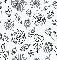 Seamless pattern with autumn flowers leave vector