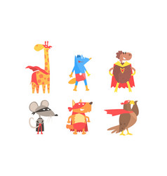 serious animals in masks and cloaks superheroes vector image