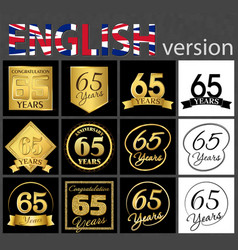 Set of number 65 templates vector