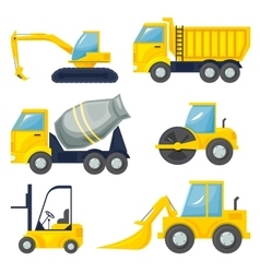 Set of operating machinery vector