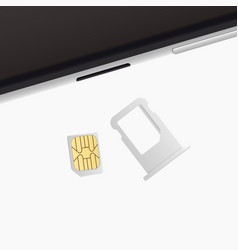small nano sim card sim card tray for smartphone vector image
