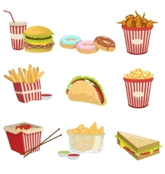 Street food menu items realistic detailed vector