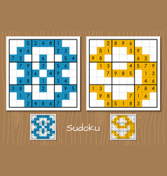 Sudoku game with the answers 8 9 numbers vector