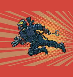 Super cop from future cyberpunk police vector