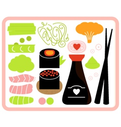 Sushi Bento box set isolated on white vector image
