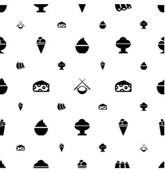 Tasty icons pattern seamless white background vector