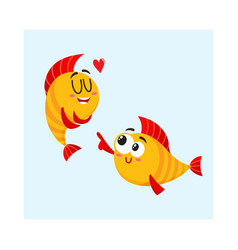 two smiling golden fish characters one showing vector image