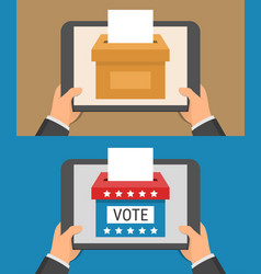 Voting online concept hand holding tablet pc vector