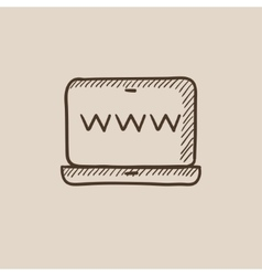 Website on laptop screen sketch icon vector