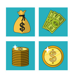 white background with money bag and bills and vector image vector image