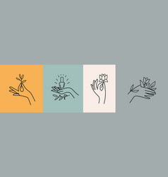 womans hand collection line hands different vector image