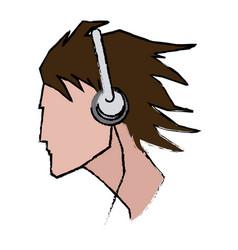 young man profile user headphones vector image