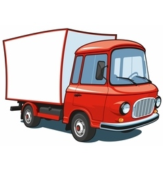 Cartoon red commercial truck vector image vector image
