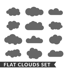 Cloud icons set Gray outline vector image vector image