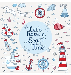 Nautical Sea Card - for scrapbook and design vector image vector image