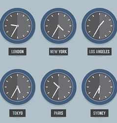 Set of Capital City Times Clock vector image