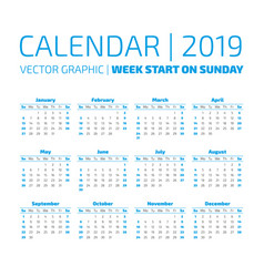 simple 2019 year calendar vector image vector image