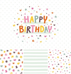 Birthday card and seamless patterns set vector