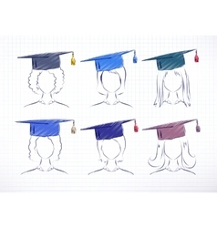 Female degree students vector image vector image