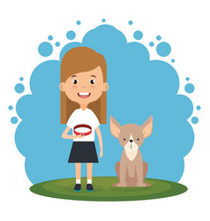 girl with dog character vector image