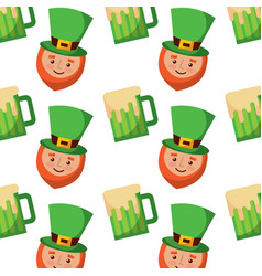 happy face leprechaun and beer glass pattern vector image