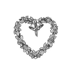 heart shaped wreath vector image vector image