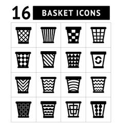 Icons set of trash basket vector image