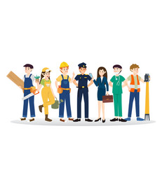 set of diverse caree profession people design vector image vector image