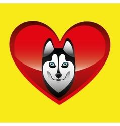 Siberian husky dog face design vector
