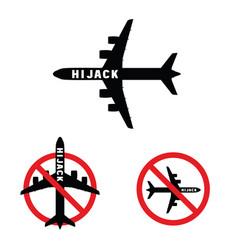 airplane with hi jak on it set vector image